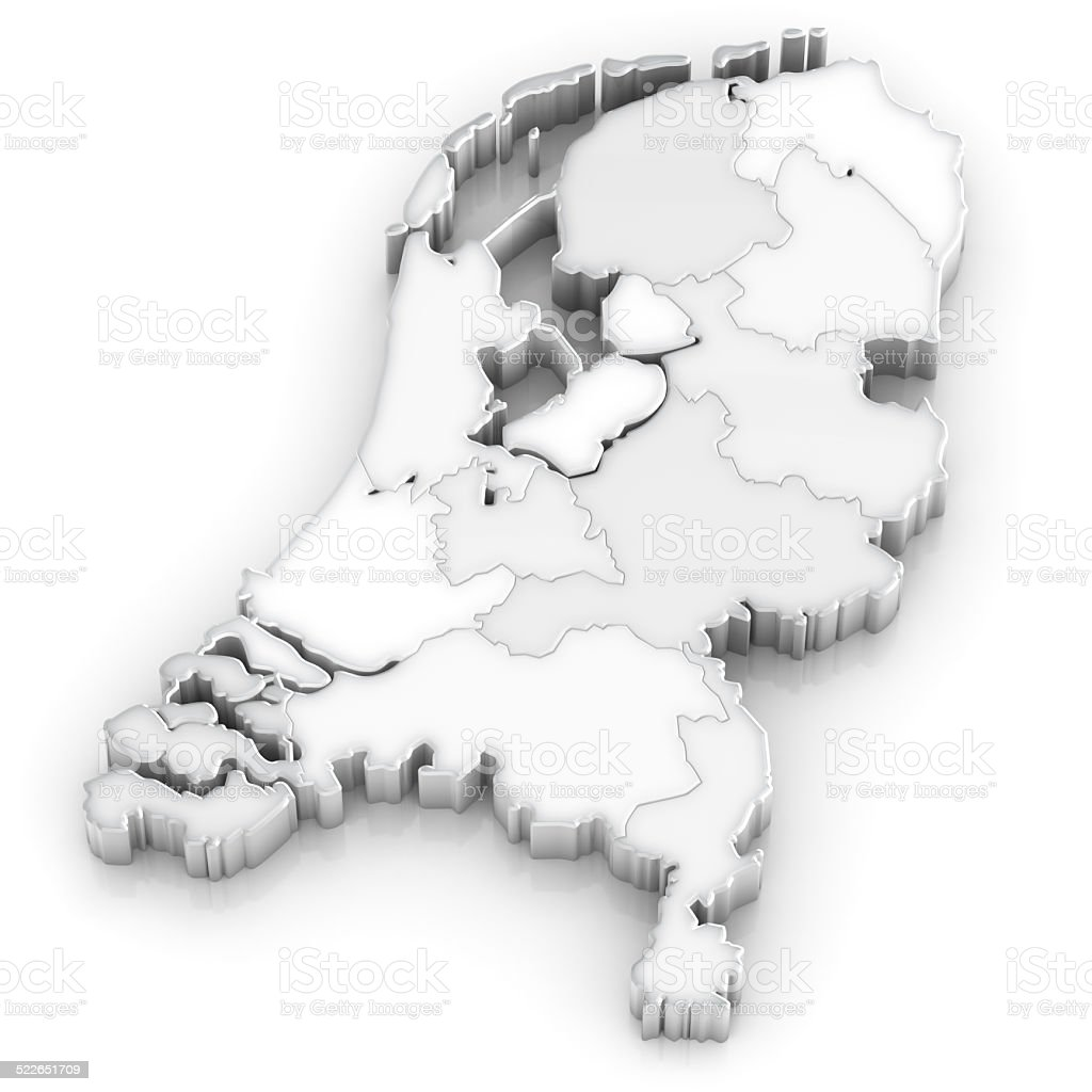 Netherlands map with provinces - 3d on white stock photo