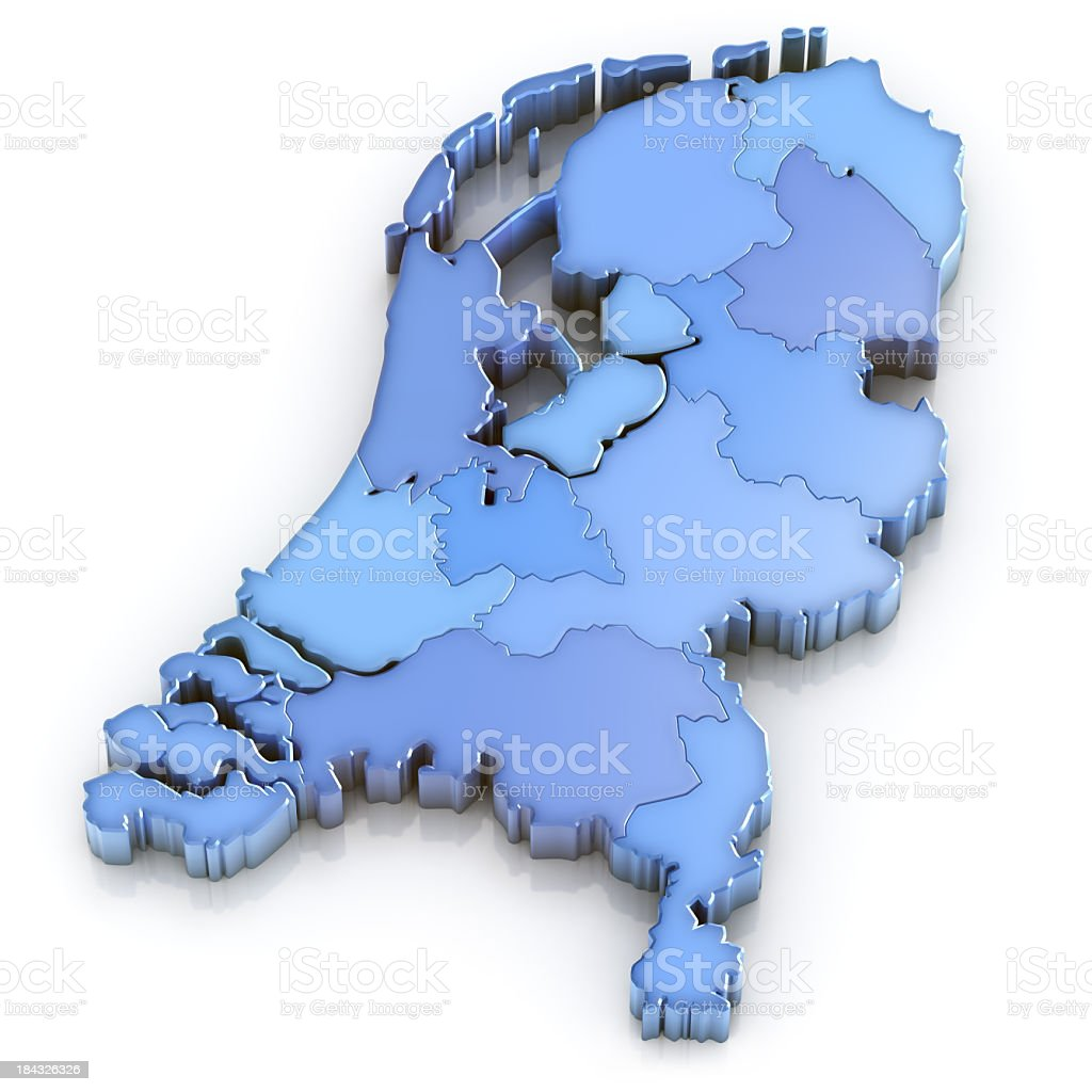 Netherlands map with provinces royalty-free stock photo
