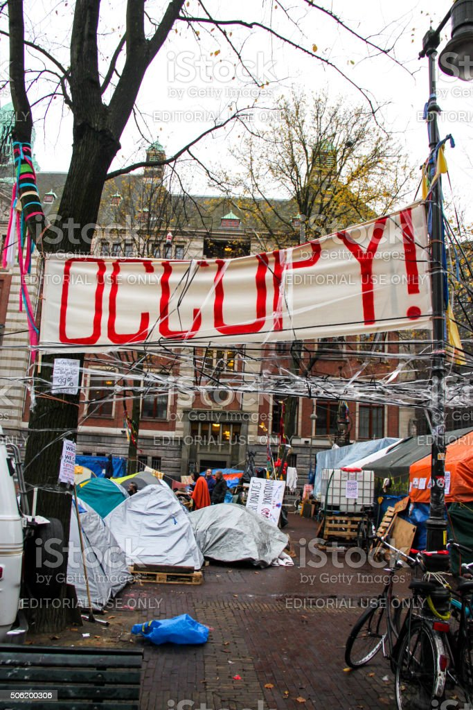 Netherlands: Occupy Amsterdam Protest in 2011 stock photo