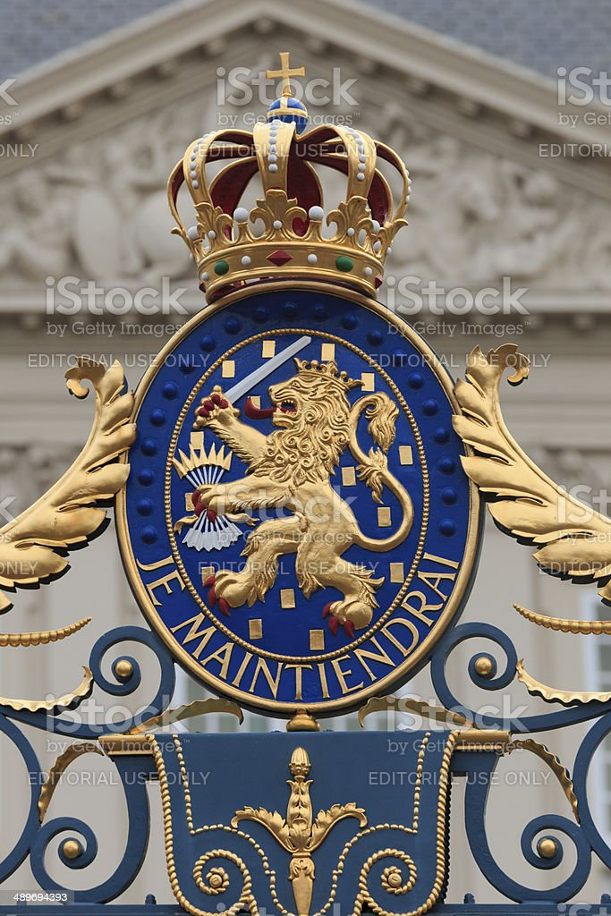 Netherlands' official coat of arms stock photo