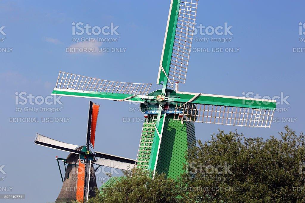 Netherlands: Windmill at Zaanse Schans stock photo
