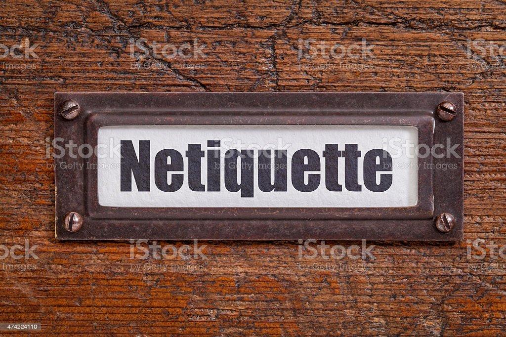 netiqutte (internet etiquette)  label stock photo