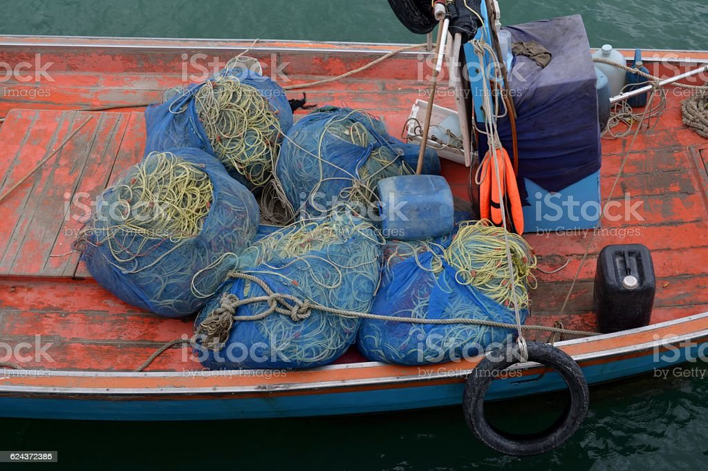 Nets and hawsers on Fishing boat, Prachuap Khiri Khan, Thailand stock photo