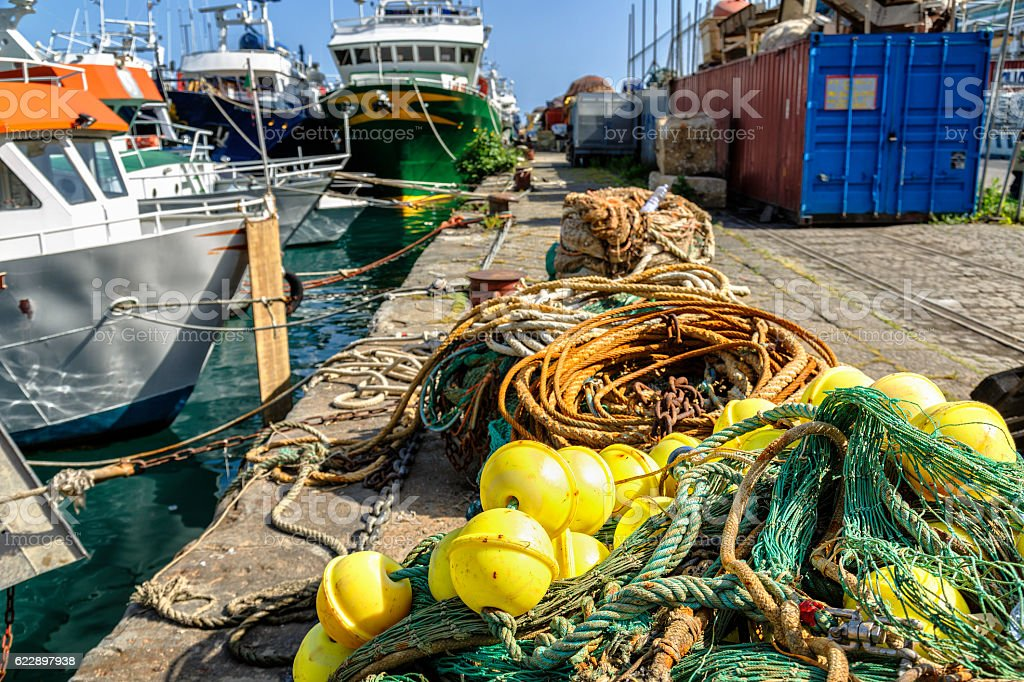 Nets and ropes in the fishing industry at Salerno, Italy stock photo