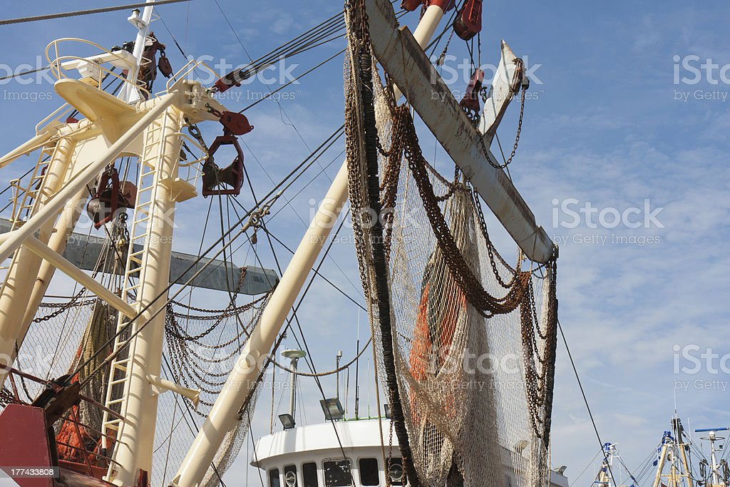 Nets of Dutch fishing cutter hanging out to dry stock photo
