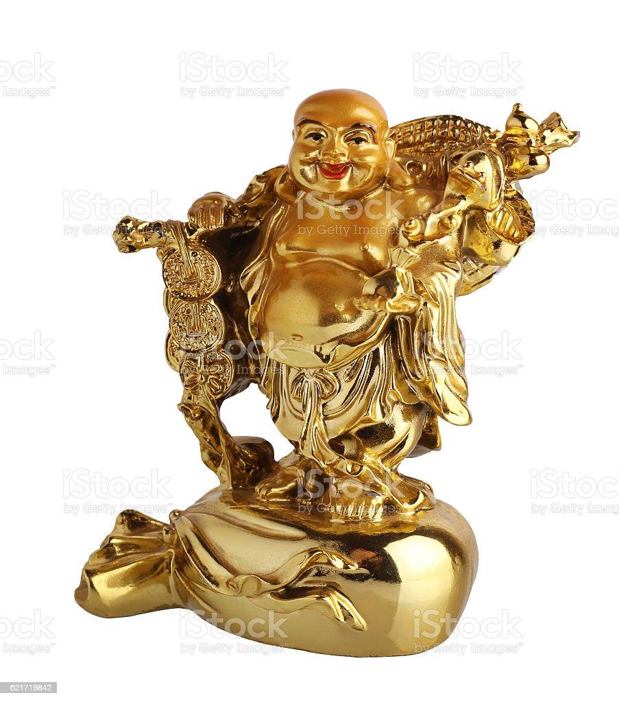 Netsuke Of Hotei. Figurine Golden color. Isolate. stock photo