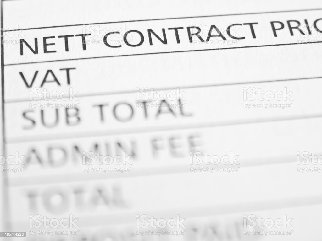 Nett contract price stock photo