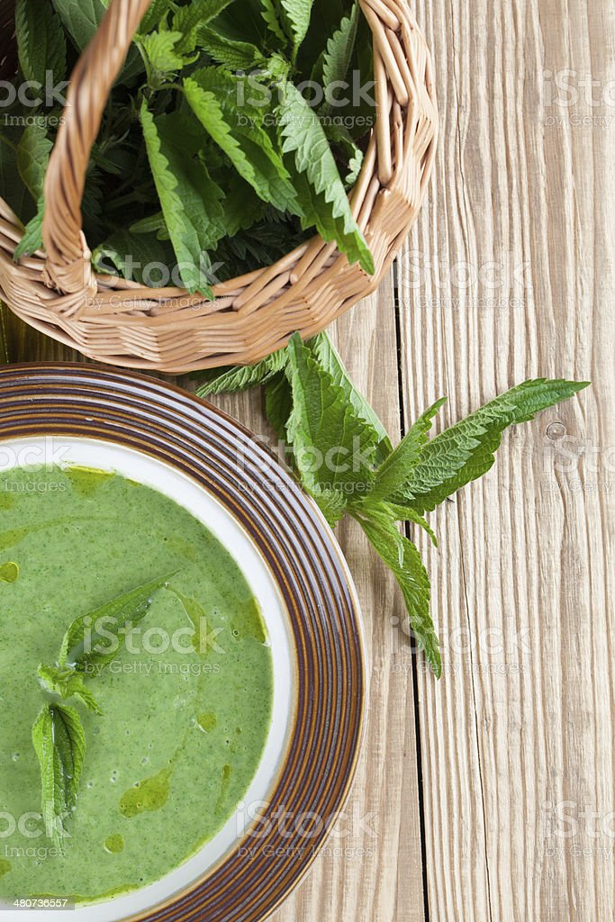 Nettle cream soup stock photo