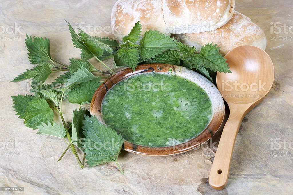 nettle soup stock photo