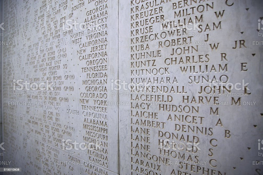Nettuno, Italia: The Names of fallen soldiers at war stock photo