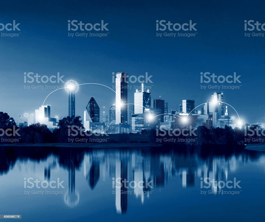 Network and Connection Technology Concept of Dallas Skyline Reflection at Dawn, Downtown Dallas, Texas, USA stock photo