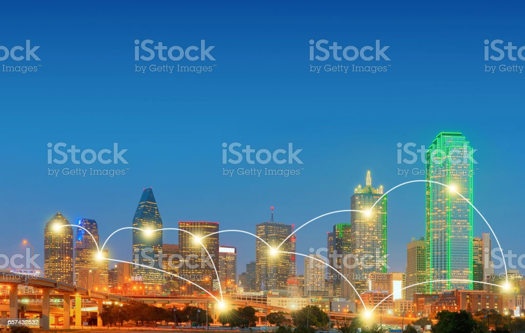 Network and Connection Technology Concept of Downtown Dallas, Texas, USA stock photo