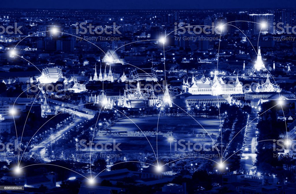 Network and Connection Technology Concept of Rattanakosin Island, Bangkok, Thailand stock photo