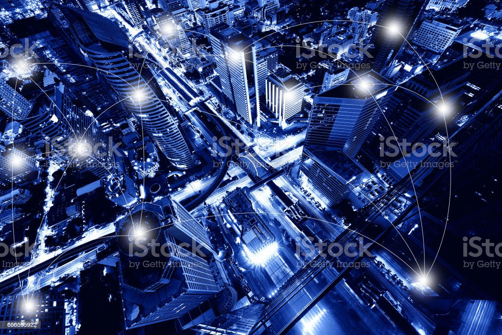 Network and Connection Technology Concept of Sathorn Intersection, Bangkok, Thailand stock photo