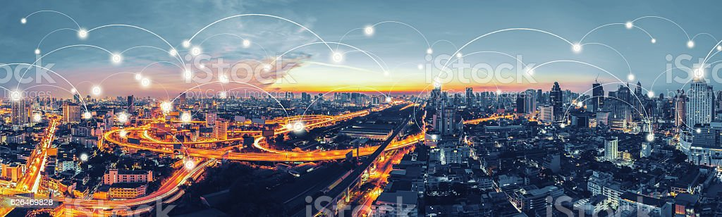 Network and Connection technology concept with Bangkok Expresswa stock photo