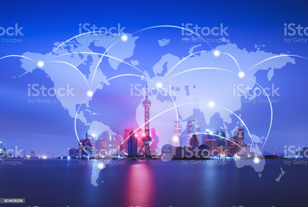 Network and world map on blur city stock photo