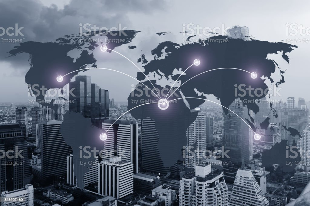network and world map on blur city,networking concept,Elements of this image furnished by NASA stock photo