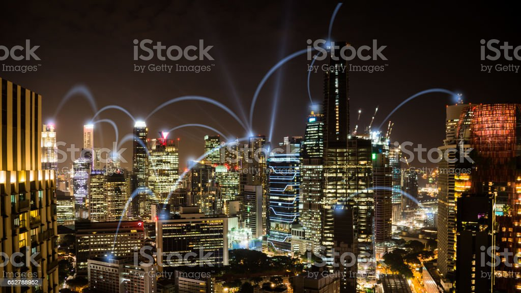 Network business conection nighttime cityscape of Singapore stock photo
