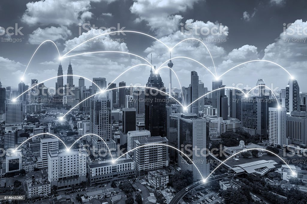 Network business connection system on Kuala Lumpur city stock photo