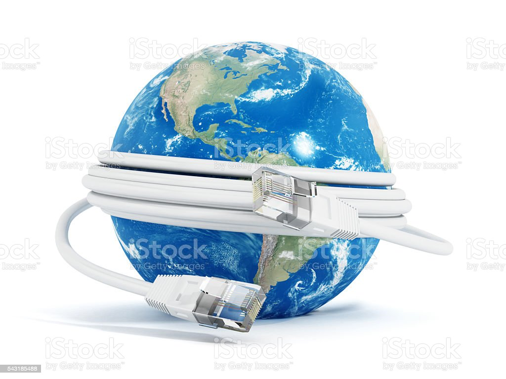 Network cable around the globe stock photo
