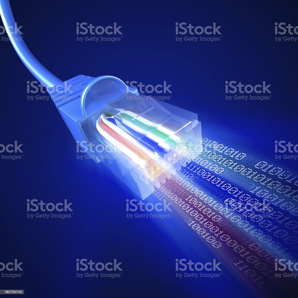 Network cable emittig stream of binary data stock photo