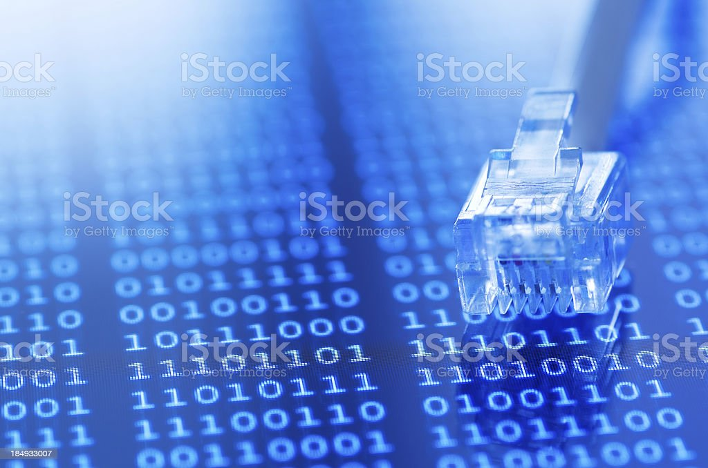 Network cable on binary background stock photo