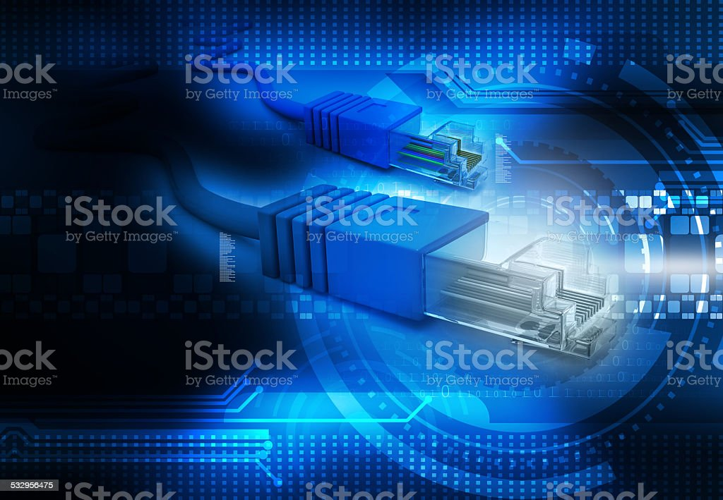 Network cable tech stock photo