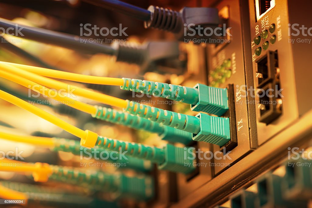 network cable with high tech technology color background stock photo