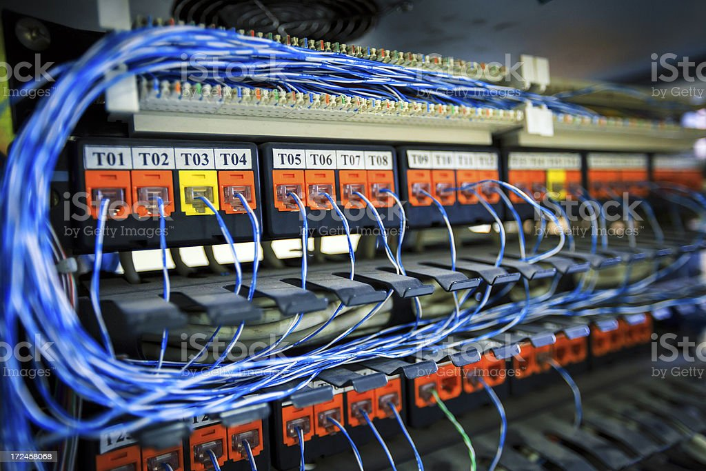 network cables and servers royalty-free stock photo