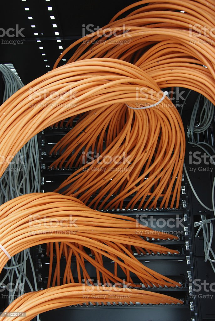 network cables in rack royalty-free stock photo