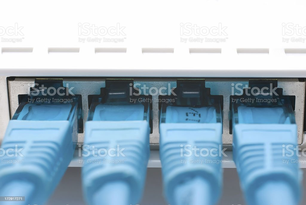 Network cables in router stock photo