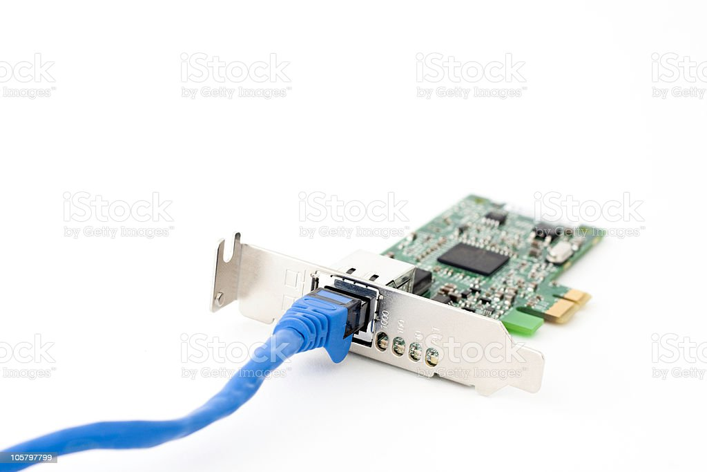 Network Card and Cable stock photo
