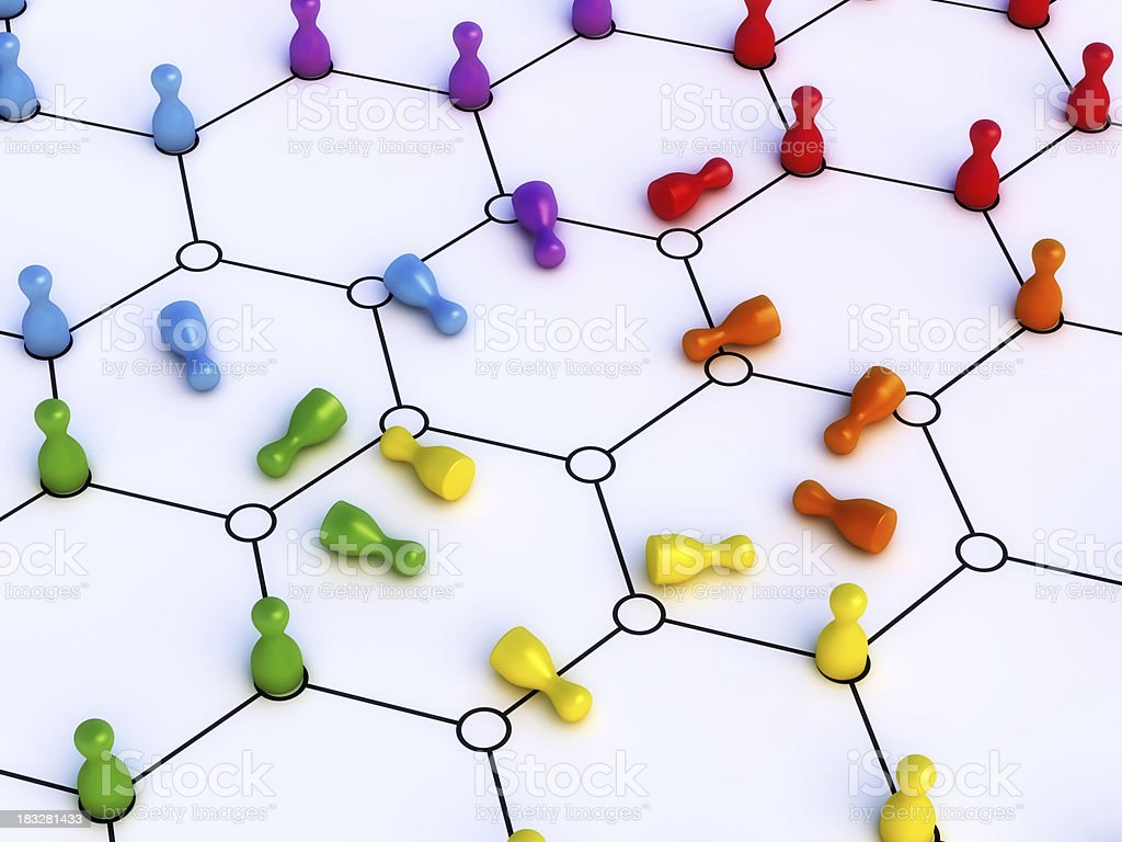 Network Chaos Colorful Pawns royalty-free stock photo