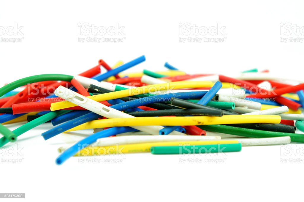 Network chaos of colorful cables. stock photo
