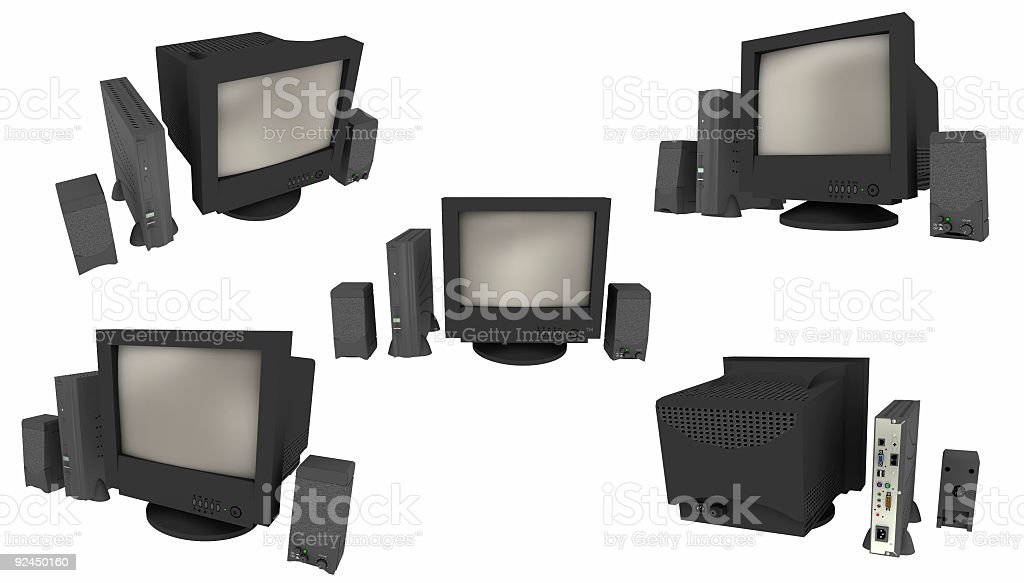 Network Computer Multiview (Isolated) royalty-free stock photo