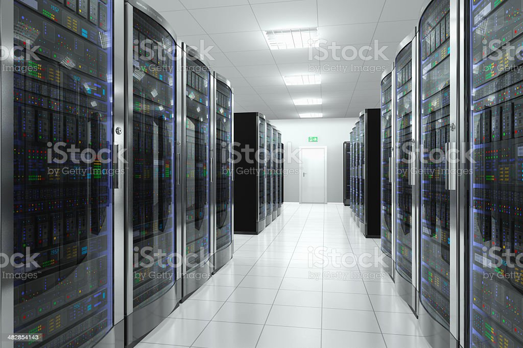 Network computer servers in data center stock photo