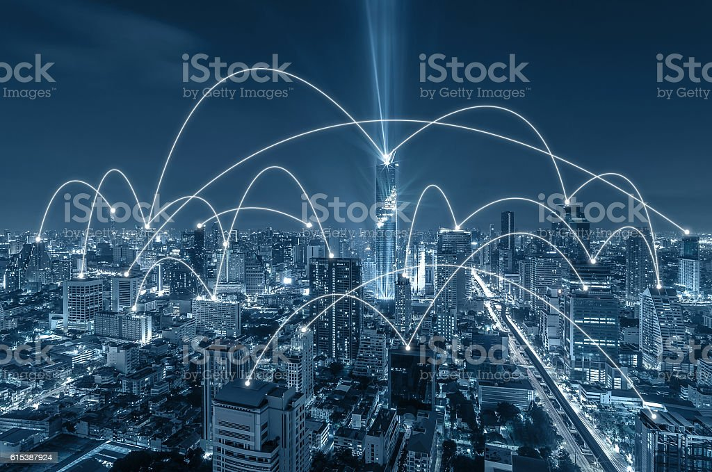 Network connection line between building over the top view stock photo