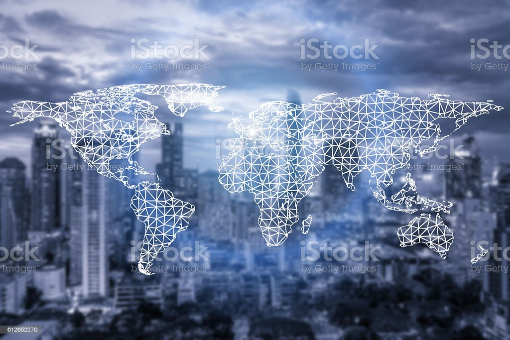 Network connection partnership and world map with city stock photo