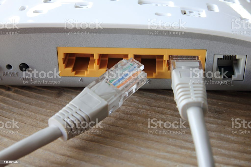 Network connection plug stock photo
