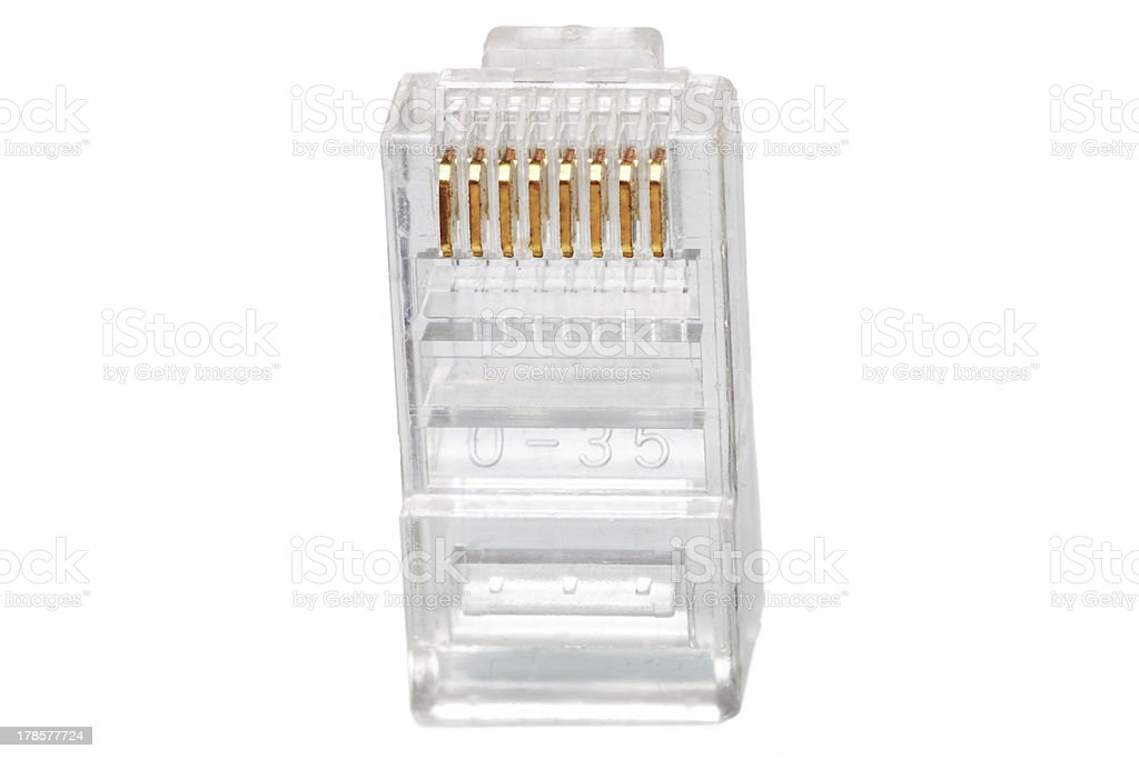 Network connection plug RJ-45. Macro. Isolated. royalty-free stock photo