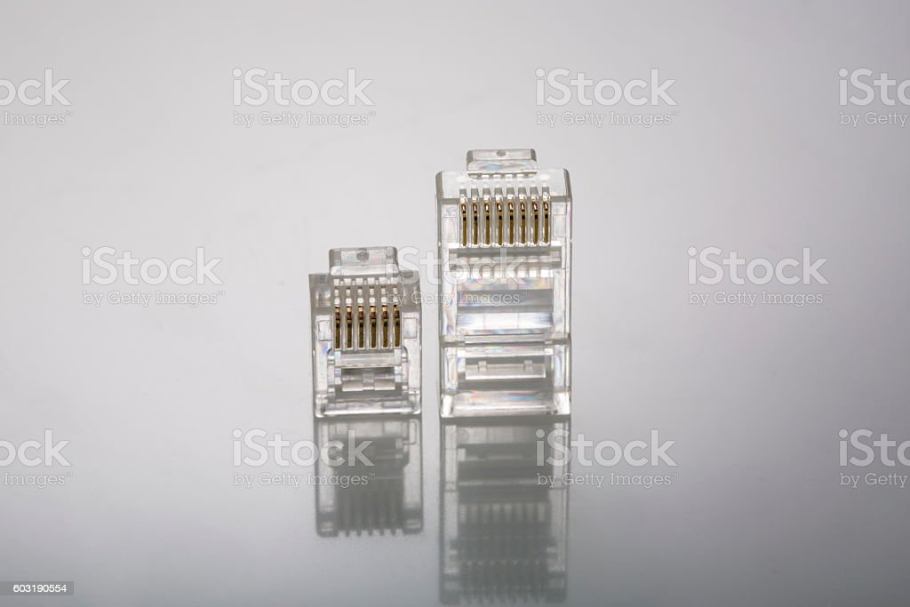 Network connectors LAN and Phone stock photo