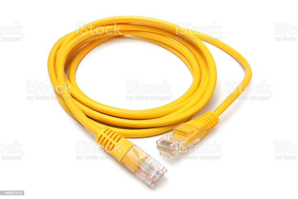 Network ethernet cable with RJ45 connectors stock photo