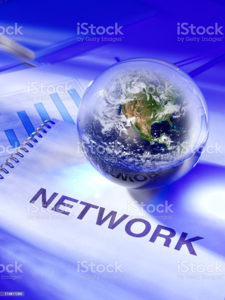 Network File on the Desk with a Globe royalty-free stock photo