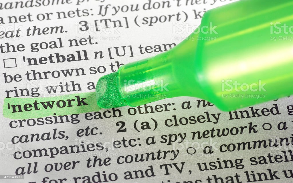 network highligted in dictionary stock photo