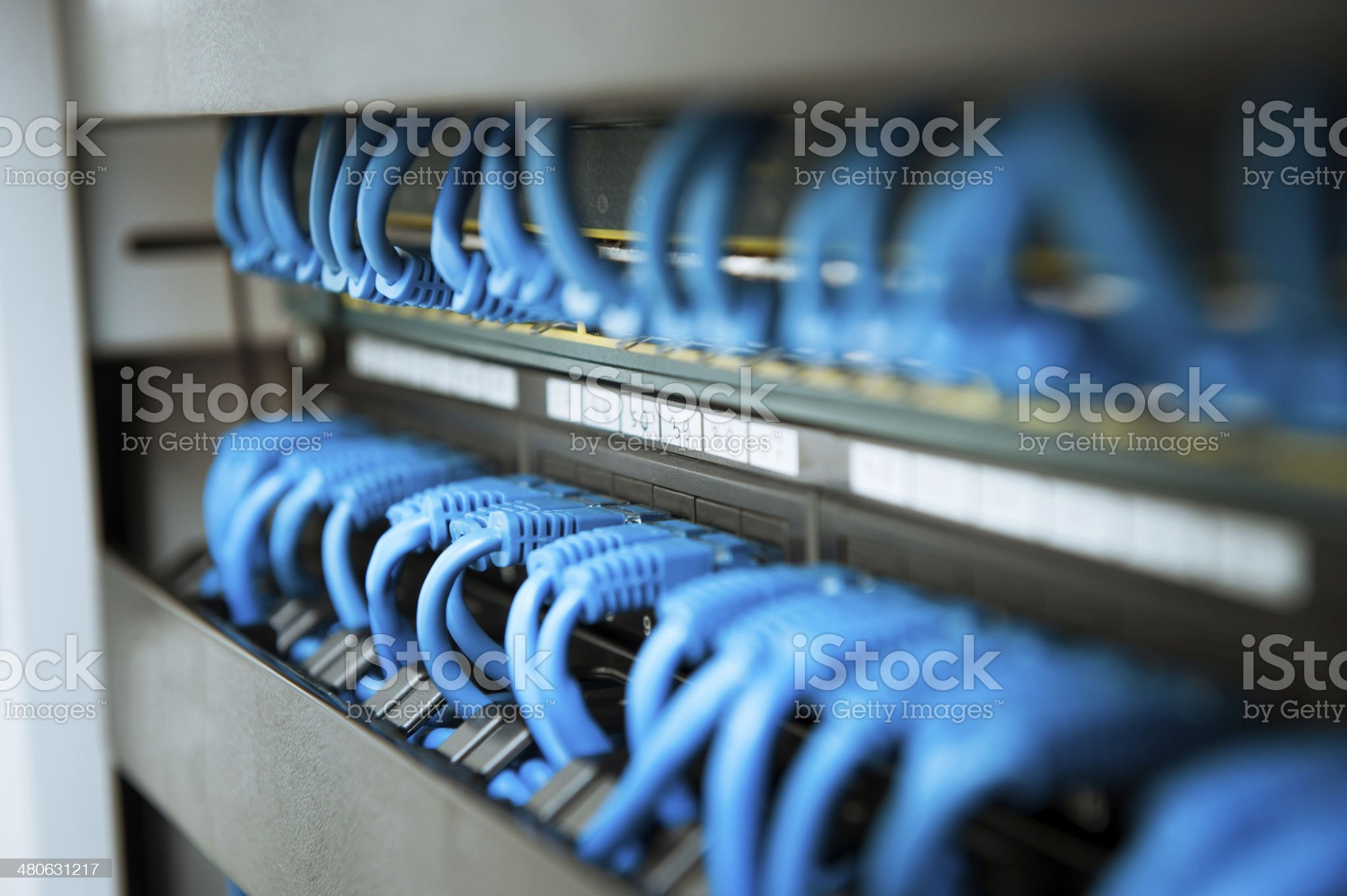 Network hub and cable royalty-free stock photo