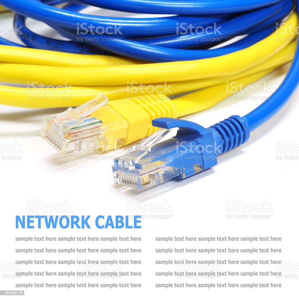 Network internet cable isolated on white background stock photo