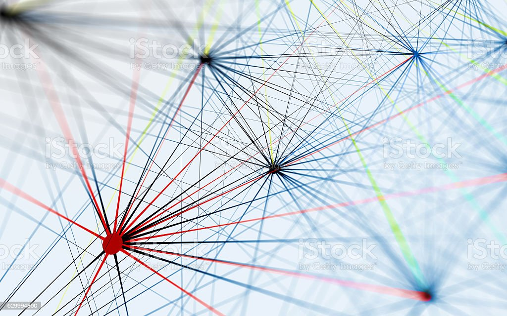Network Lines Connecting to Servers, Technology Background vector art illustration