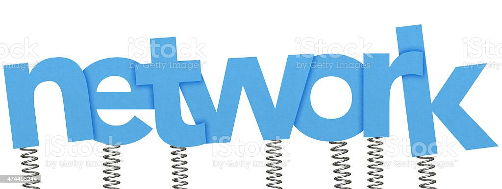 Network made from letters on springs stock photo