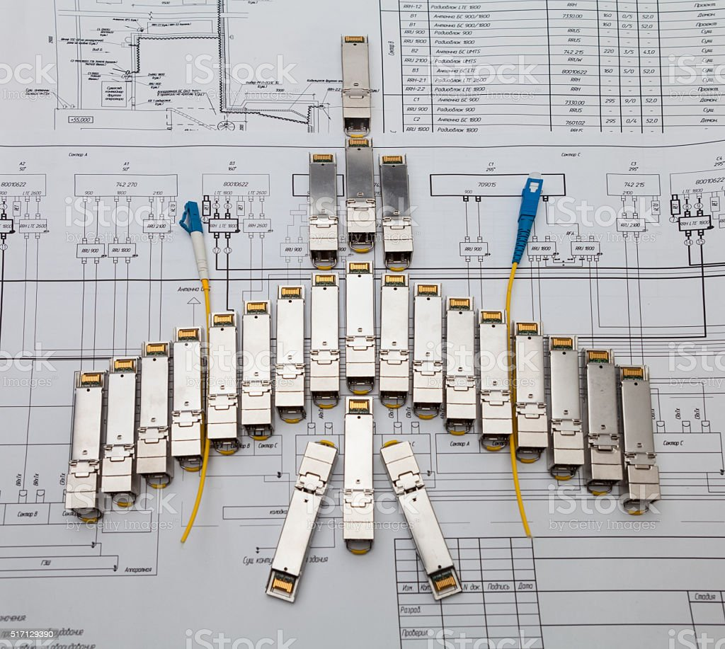 SFP network modules for network switch  as shape of plane stock photo