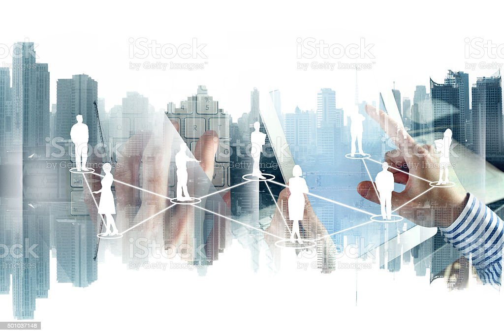 Network on cityscape background stock photo